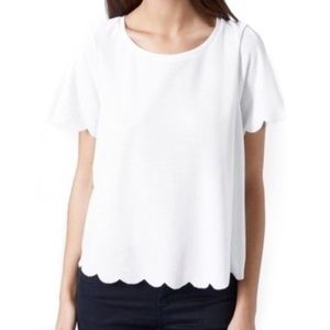 Topshop White Scallop Frill Hem Tee | 6